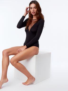 Body manches longues col transparent noir.