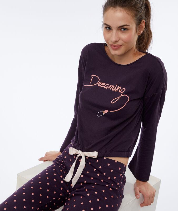 """T-shirt """"dreaming"""" violet fonce."""