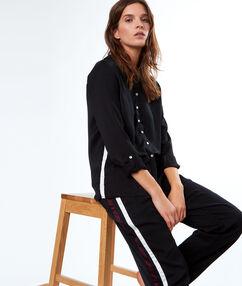 Pantalon bande contrastée noir.
