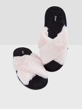 Chaussons ouverts fausse fourrure rose.