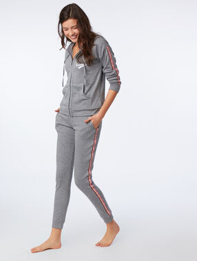 Pantalon homewear à bandes latérales anthracite.