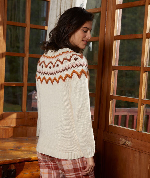 Pull grosse maille motif hivernal