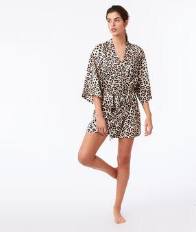 Déshabillé imprimé léopard ecru.
