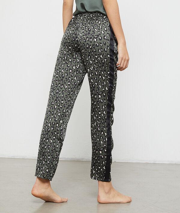 Pantalon satiné imprimé léopard