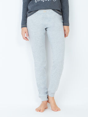 Pantalon façon jogging gris clair.