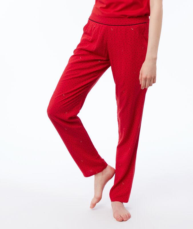 Pantalon imprimé rouge.