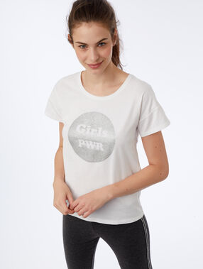 "T-shirt ""girl pwr"" ecru."