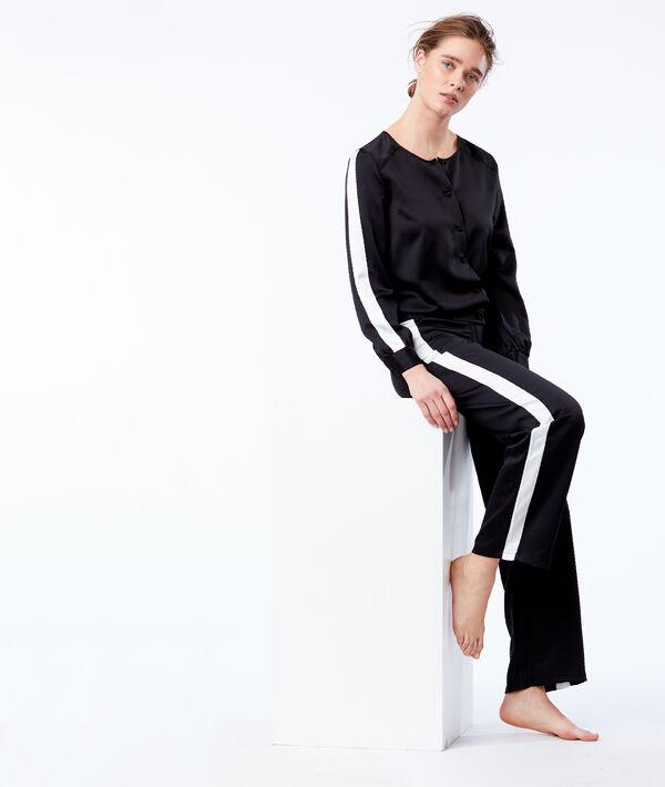 Pantalon large satiné à bandes contrastées
