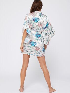 Kimono satiné imprimé fleuri ecru.
