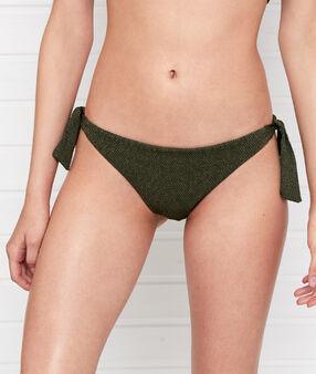 Bas de bikini brésilien irisé - high leg kaki.