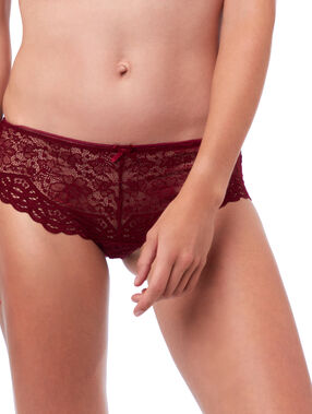 Shorty en dentelle florale bordeaux grenat.
