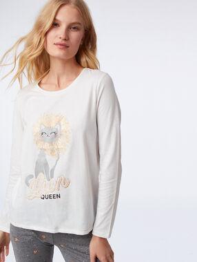 """Pyjama 3 pièces chat """"lion queen"""" gris clair."""