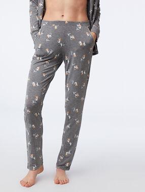 Pantalon de pyjama à motifs chat anthracite.