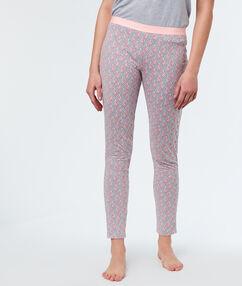 Pantalon imprimé flamands roses gris.