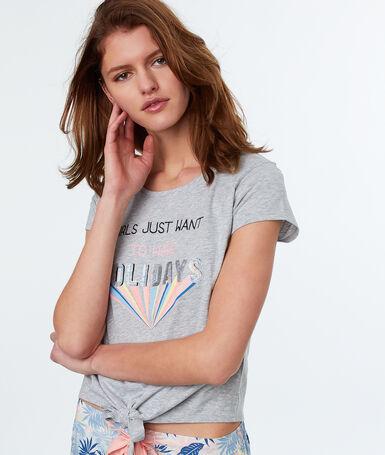 T-shirt imprimé à message gris.