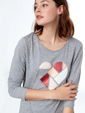 Top applique coeur bi matière gris.