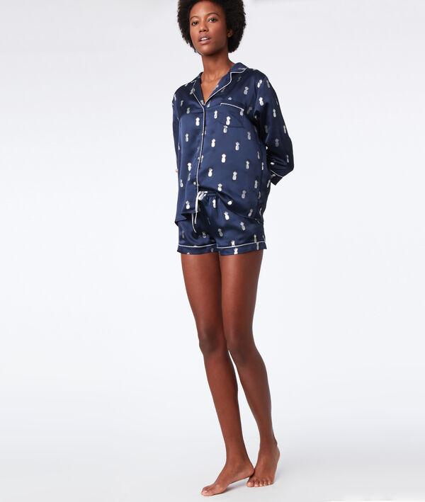 Chemise de pyjama ananas argenté