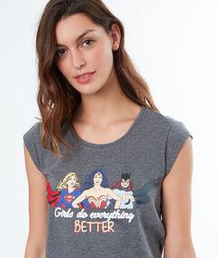 T-shirt imprimé super-heroines gris.