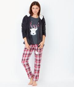Pyjama 3 pièces, pantalon à carreaux et veste toucher polaire anthracite.
