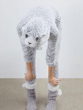Combinaison pyjama panthère gris.