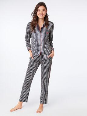 Pantalon de pyjama satiné à rayures bleu nuit.