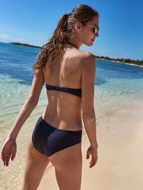 Bas de bikini shorty, irisé marine.
