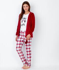 Pyjama 3 pièces chouette pantalon à carreaux et veste toucher polaire rouge.