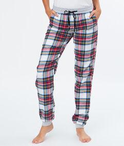 Pyjama à carreaux blanc.
