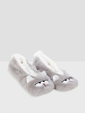 Chaussons souples chats gris.