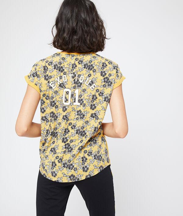 "T-shirt dos fleuri message ""Exotique"""