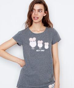 T-shirt imprimé monstres gris.