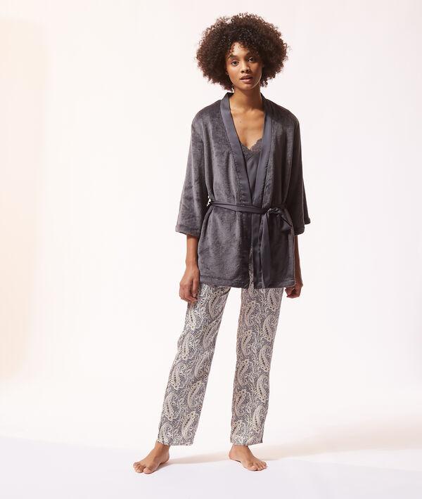 Pyjama 3 pièces satin et polaire;${refinementColor}