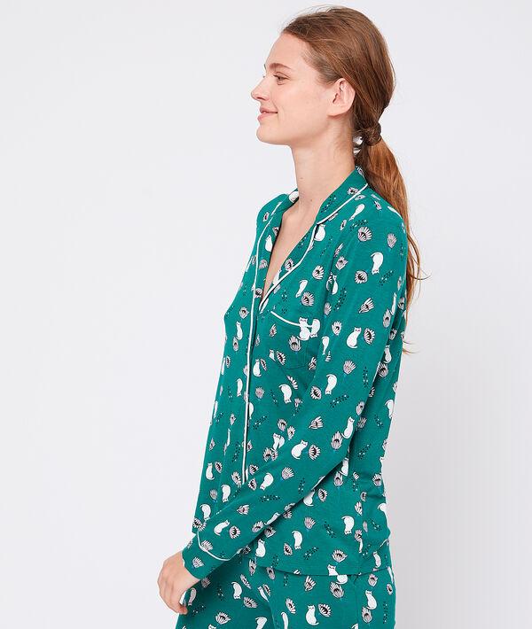 Chemise de pyjama en viscose éco-responsable - GABIA - L - Vert - Femme - Etam