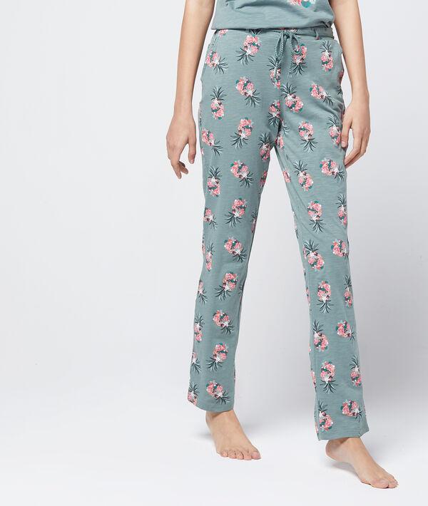Pantalon ceinturé imprimé en coton bio