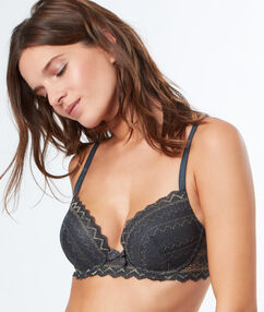 Soutien-gorge n°1 - magic up gris/or.