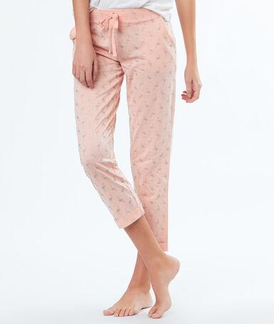 Pantalon imprimé flamants roses pailletés rose.