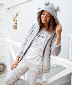 Pyjama 3 pièces à message gris.