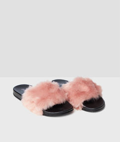 Chaussons ouverts doudou rose.