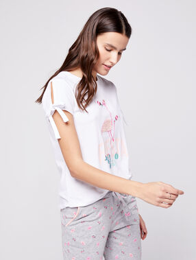 T-shirt imprimé flamant rose ecru.