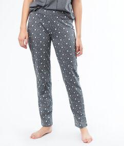 Pantalon imprimé petites fleurs gris.