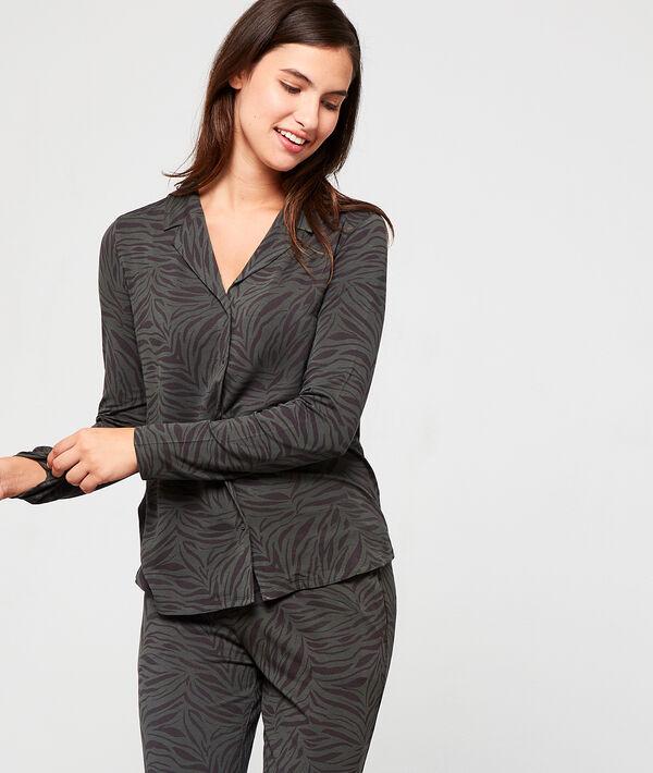 Chemise de pyjama imprimé zébré - LYANA - XS - Vert - Femme - Etam