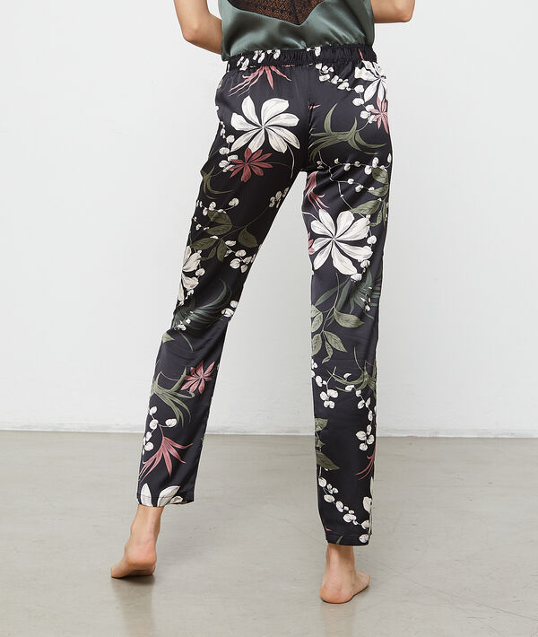 Pantalon satiné imprimé fleuri