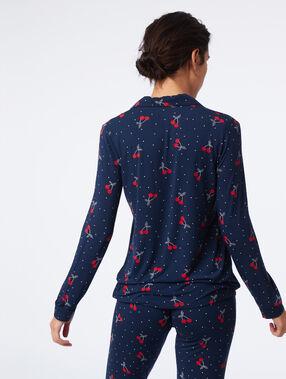 Chemise de pyjama imprimé cerise marine.