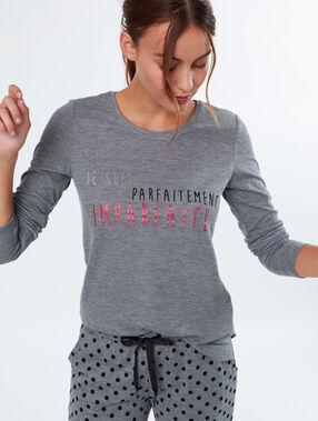 """T-shirt à message """"confidentielles"""" gris."""