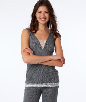 Pyjama 2 pièces détails dentelle gris.