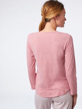 T-shirt imprimé col noué rose.