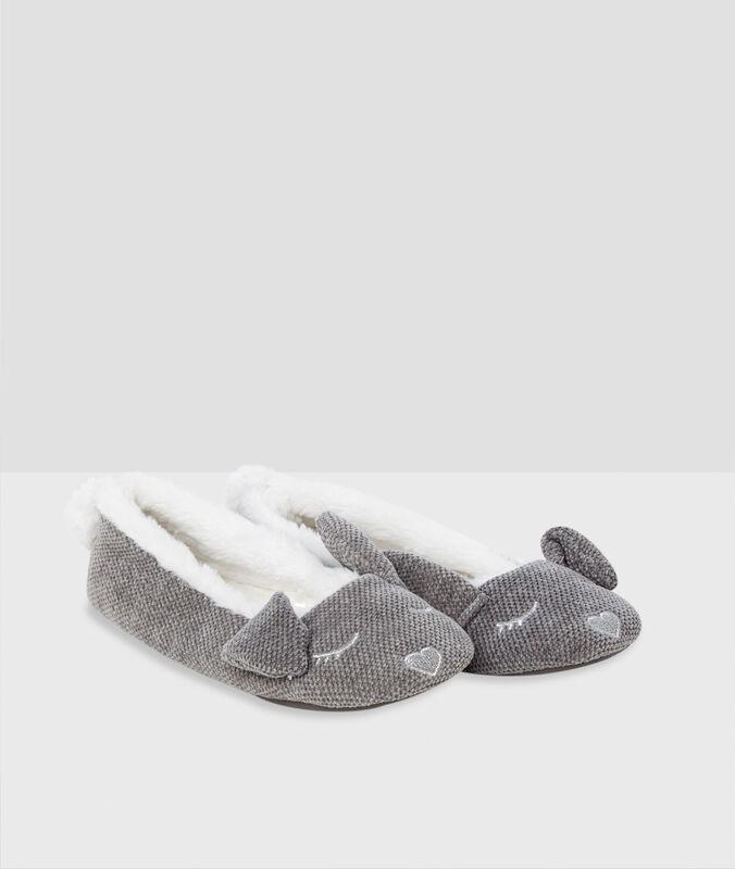 Chaussons ballerines oreilles de lapin gris.