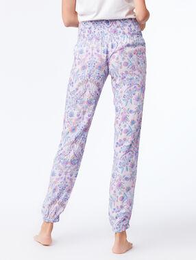Pantalon taille smockée imprimé floral parme.