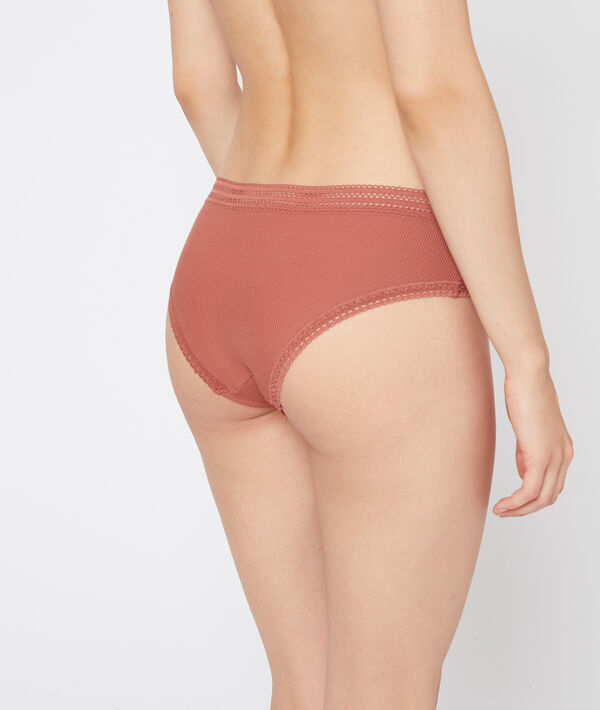 Shorty en microfibre, bords dentelle