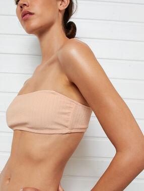 Haut de maillot de bain bandeau côtelé corail.